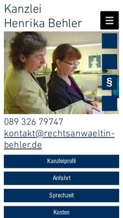 Vorschau der mobilen Webseite www.rechtsanwaeltin-behler.de, Henrika Behler, Rechtsanwältin, Garching bei München