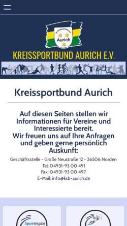 Vorschau der mobilen Webseite ksb-aurich.de, Kreissportbund Aurich e.V.