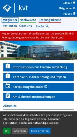Vorschau der mobilen Webseite www.kv-thueringen.de, Kassenärztliche Vereinigung Thüringen