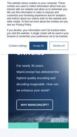 Vorschau der mobilen Webseite www.mainconcept.com, MainConcept AG