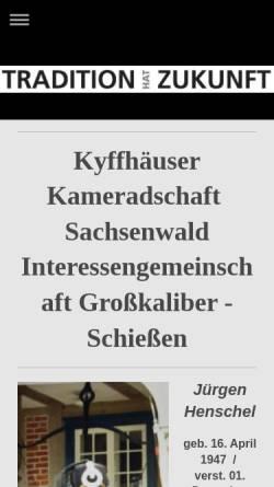 Vorschau der mobilen Webseite www.kk-sachsenwald.de, Kyffhäuser Kameradschaft Sachsenwald