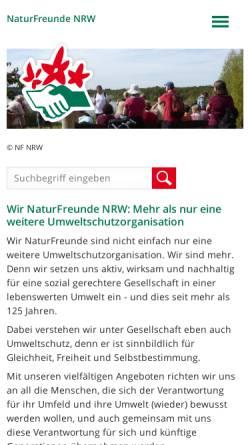 Vorschau der mobilen Webseite www.naturfreunde-nrw.de, Naturfreunde Deutschlands Landesverband Nordrhein-Westfalen e.V.