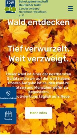 Vorschau der mobilen Webseite www.sdw-nrw.de, Schutzgemeinschaft Deutscher Wald Landesverband NRW e.V.