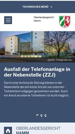 Vorschau der mobilen Webseite www.olg-hamm.nrw.de, Oberlandesgericht Hamm