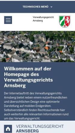 Vorschau der mobilen Webseite www.vg-arnsberg.nrw.de, Verwaltungsgericht Arnsberg