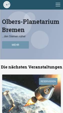 Vorschau der mobilen Webseite planetarium.hs-bremen.de, Olbers-Planetarium
