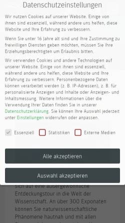 Vorschau der mobilen Webseite www.universum-bremen.de, Universum Science Center