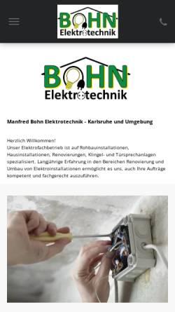 Vorschau der mobilen Webseite www.bohn-elektrotechnik.de, Manfred Bohn Elektrotechnik