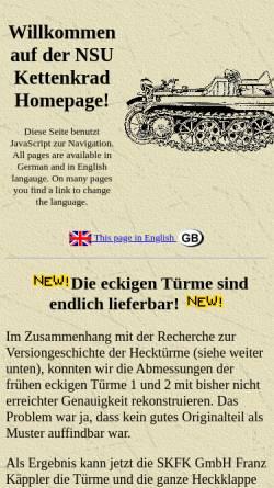 Vorschau der mobilen Webseite www.kettenkrad.de, NSU Kettenkrad