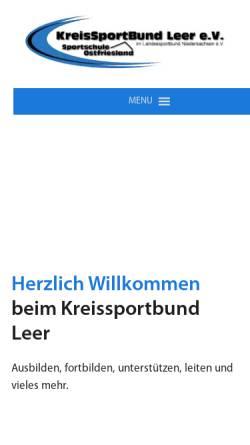Vorschau der mobilen Webseite www.ksb-leer.de, Kreissportbund Leer e.V.