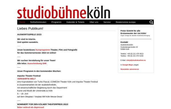 Vorschau von studiobuehnekoeln.de, Studiobühne Köln