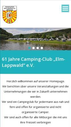 Vorschau der mobilen Webseite www.cc-elm-lappwald.de, Camping-Club