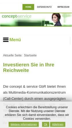Vorschau der mobilen Webseite www.concept-serv.de, Concept & Service