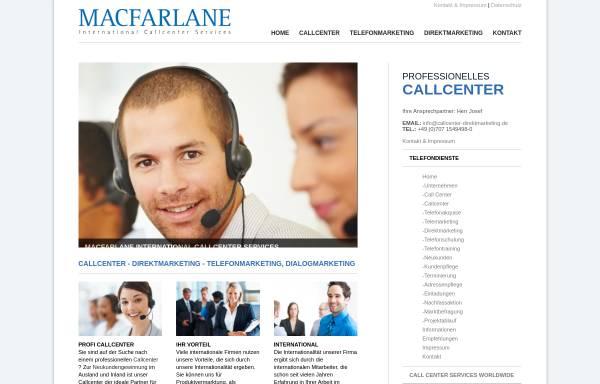 Vorschau von www.callcenter-direktmarketing.de, Macfarlane Callcenter Direktmarketing und Telefonmarketing Services