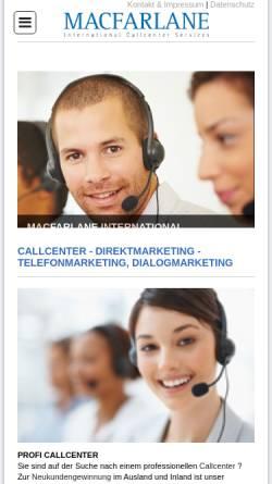 Vorschau der mobilen Webseite www.callcenter-direktmarketing.de, Macfarlane Callcenter Direktmarketing und Telefonmarketing Services
