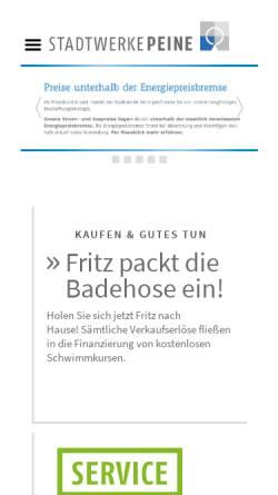 Vorschau der mobilen Webseite www.stadtwerke-peine.de, Stadtwerke Peine