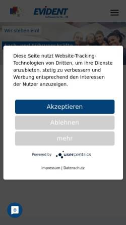 Vorschau der mobilen Webseite www.evident.de, Evident GmbH
