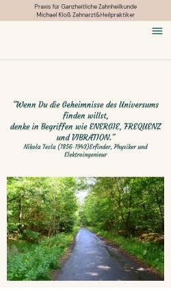 Vorschau der mobilen Webseite www.zahnarzt-pankow.de, Michael Klos - Homöopathie für Menschen und Tiere
