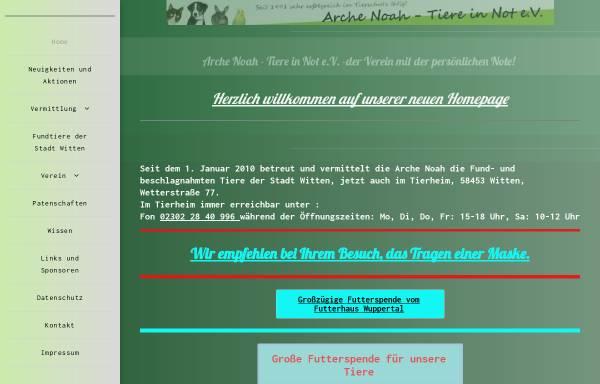 Vorschau von www.arche-noah-witten.de, Arche Noah Tiere in Not e.V.