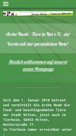 Vorschau der mobilen Webseite www.arche-noah-witten.de, Arche Noah Tiere in Not e.V.