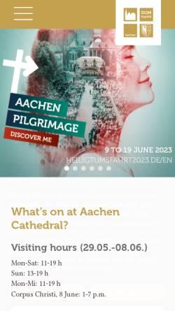 Vorschau der mobilen Webseite www.aachenerdom.de, Aachener Dom