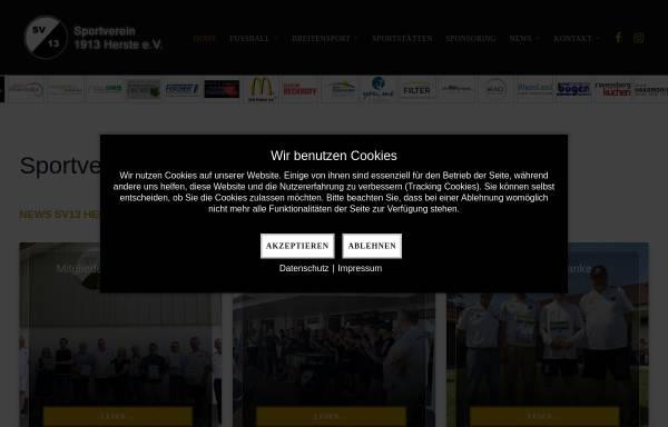 Vorschau von www.sv13herste.de, Sportverein 1913 Herste e.V.