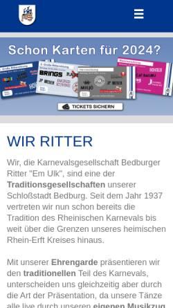Vorschau der mobilen Webseite www.bedburger-ritter.de, Karnevalsgesellschaft Bedburger Ritter Em Ulk von 1937