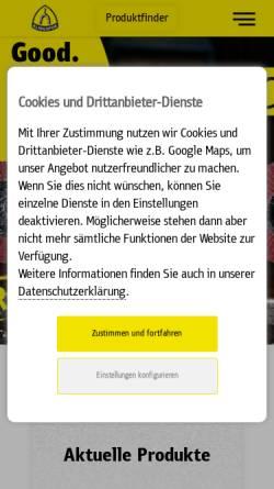 Vorschau der mobilen Webseite www.klingspor.de, Klingspor Schleifsysteme GmbH & Co. KG