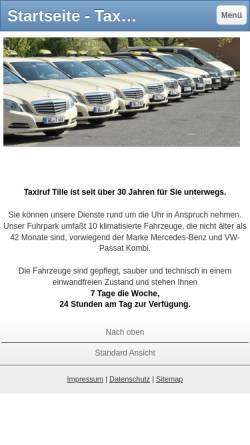 Vorschau der mobilen Webseite www.taxiruf-tille.de, Taxiruf Tille