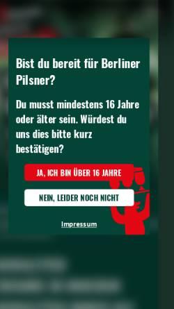 Vorschau der mobilen Webseite www.berliner-pilsner.de, Berliner Pilsner, Berliner-Schultheiss-Brauerei GmbH