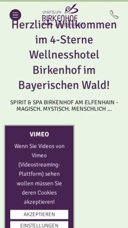 Vorschau der mobilen Webseite www.hotel-birkenhof.de, Kurhotel Birkenhof