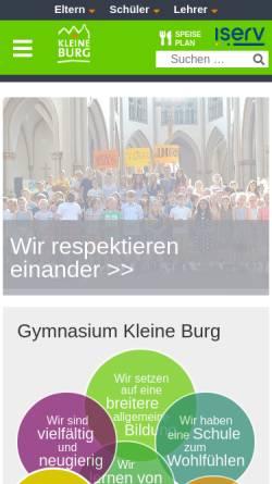 Vorschau der mobilen Webseite www.kleineburg.de, Gymnasium Kleine Burg