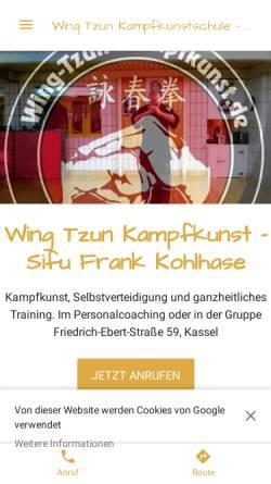 Vorschau der mobilen Webseite wing-tzun-kampfkunst.de, EBMAS-Schulen Frank Kohlhase