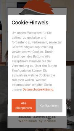 Vorschau der mobilen Webseite www.baederstudio-kresse.de, Bäderstudio Kresse- Sanitär, Heizung, Bad