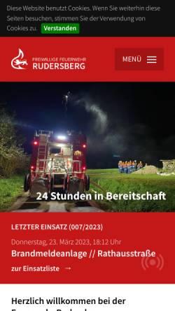 Vorschau der mobilen Webseite www.feuerwehr-rudersberg.de, Freiwillige Feuerwehr Rudersberg