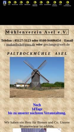 Vorschau der mobilen Webseite www.muehleasel.de, Mühlenverein Asel e.V.