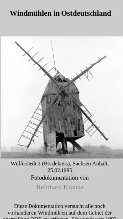 Vorschau der mobilen Webseite www.muehlen-archiv.de, Windmühlen in Ostdeutschland