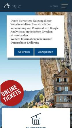 Vorschau der mobilen Webseite www.ebenalp.ch, Luftseilbahn Wasserauen-Ebenalp