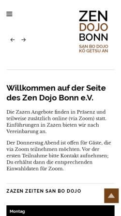 Vorschau der mobilen Webseite www.zen-bonn.de, Zen Bonn, San Bo Dojo