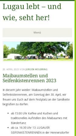 Vorschau der mobilen Webseite lugau-niederlausitz.de, Lugau lebt e.V.