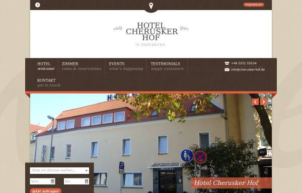Vorschau von www.cherusker-hof.de, Hotel Cherusker Hof Paderborn