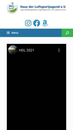 Vorschau der mobilen Webseite www.hdlsj.de, Haus der Luftsportjugend