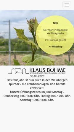 Vorschau der mobilen Webseite www.weingut-klaus-boehme.de, Weingut Klaus Böhme
