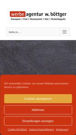 Vorschau der mobilen Webseite www.werbeagentur-boettger.de, Werbeagentur W. Böttger e.K.