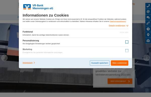 Vorschau von www.vr-memmingen.de, VR-Bank Memmingen eG