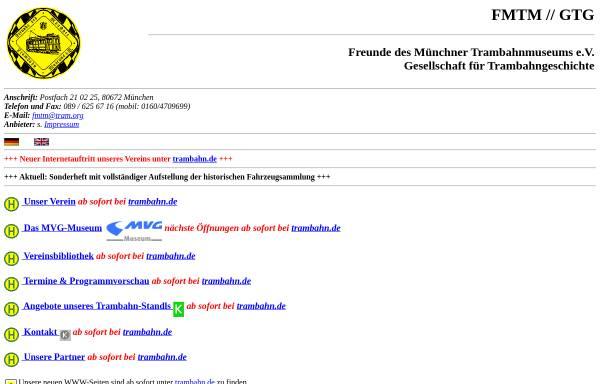 Vorschau von www.tram.org, Freunde des Münchner Trambahnmuseums e.V./Gesellschaft für Trambahngeschichte