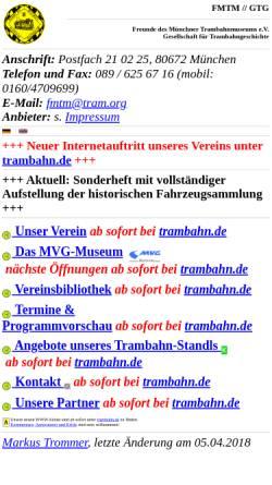 Vorschau der mobilen Webseite www.tram.org, Freunde des Münchner Trambahnmuseums e.V./Gesellschaft für Trambahngeschichte
