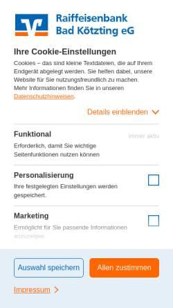 Vorschau der mobilen Webseite www.rb-koetzting.de, Raiffeisenbank Kötzting eG