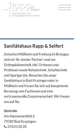Vorschau der mobilen Webseite www.rapp-und-seifert.de, Rapp & Seifert Sanitätshaus und Orthopädietechnik GmbH