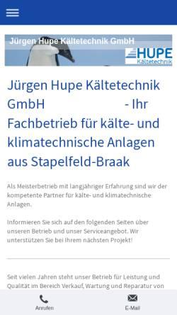 Vorschau der mobilen Webseite www.hupe-kaeltetechnik.de, Jürgen Hupe Kältetechnik GmbH